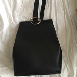Cartier black leather one strap backpack